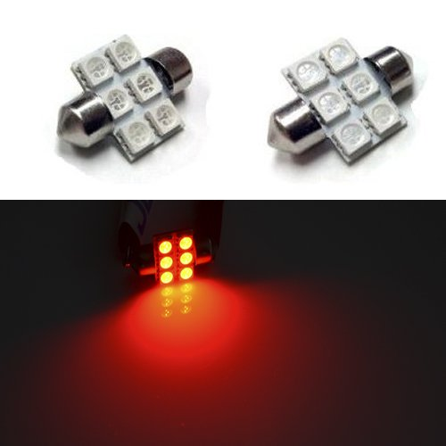 10X 5050 Chipsets 1.25 inches 3175 LED Bulbs for Interior Map Lights, Trunk Lihgts, Courtesy Lights, Brilliant Red
