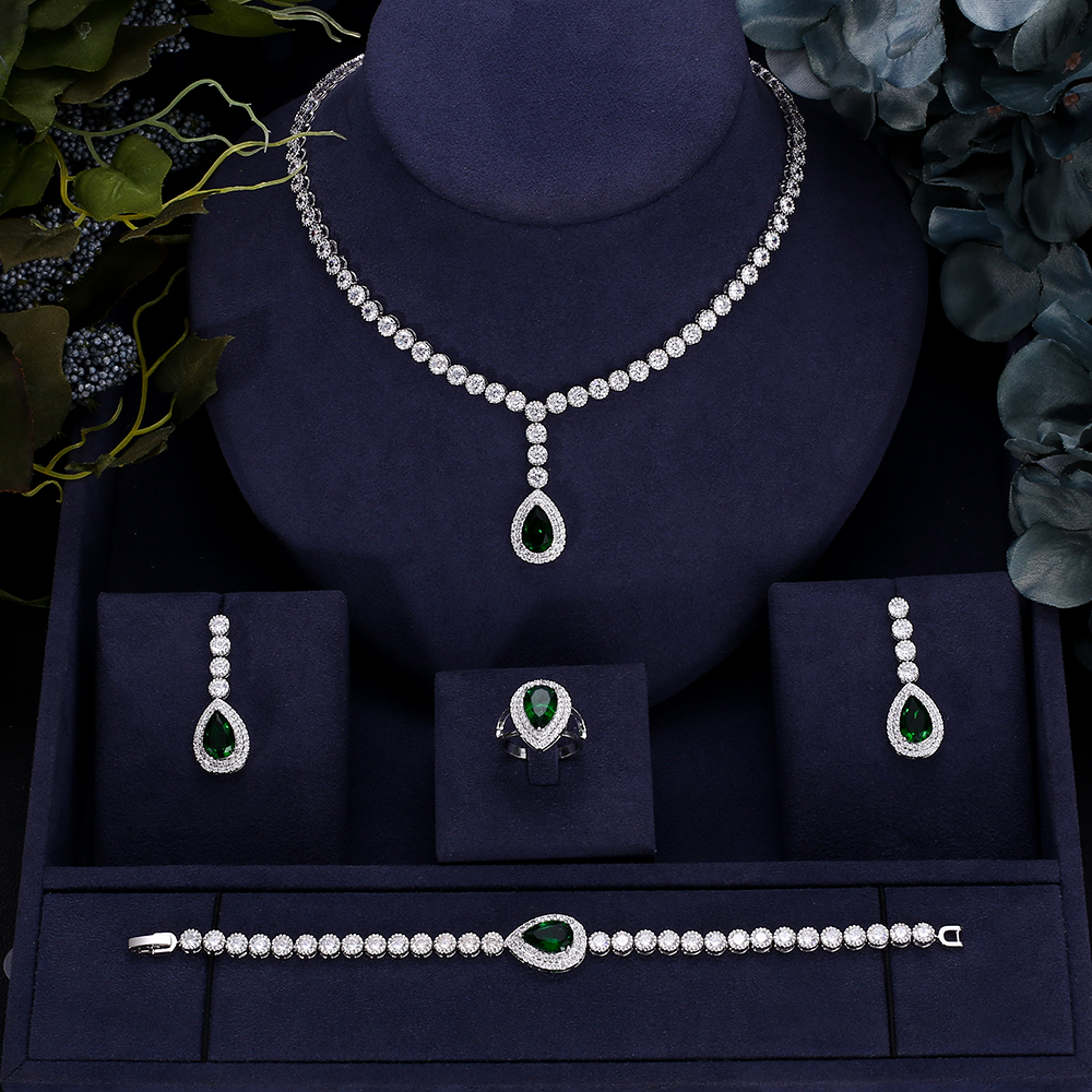 Accking Fashion 5 colors 4pcs Cubic Zircon Luxury Women Wedding Party For Bridal Jewelry set