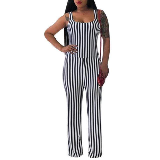 81634c4d8a3a Summer Striped Women Jumpsuits Casual Wide Leg Long Pants Rompers Sleeveless  Party Club Straps Jumpsuit For Women WS8800M