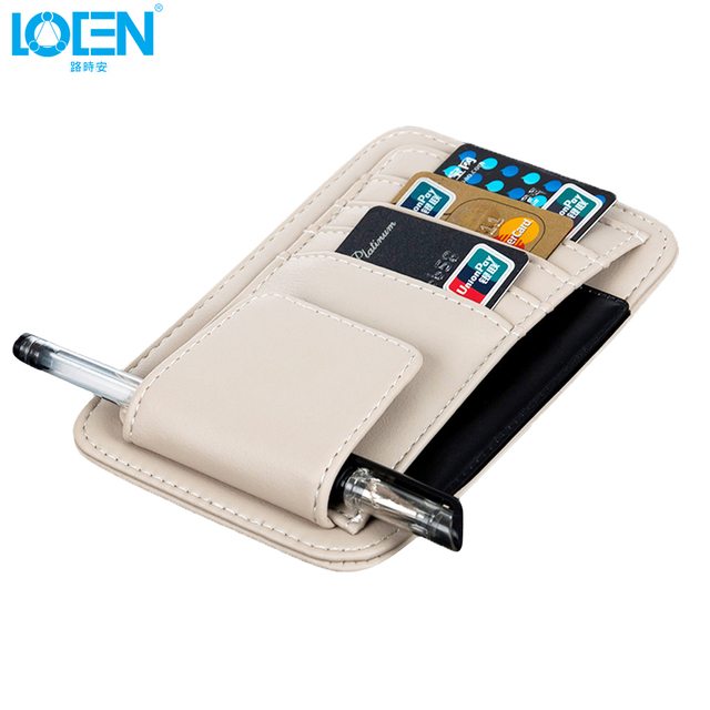 LOEN 1* Sun Visor Multifunction PU Car Card Package Holder Glasses Storage Pen Organizer Car Hanging Bag Auto Accessories Pocket