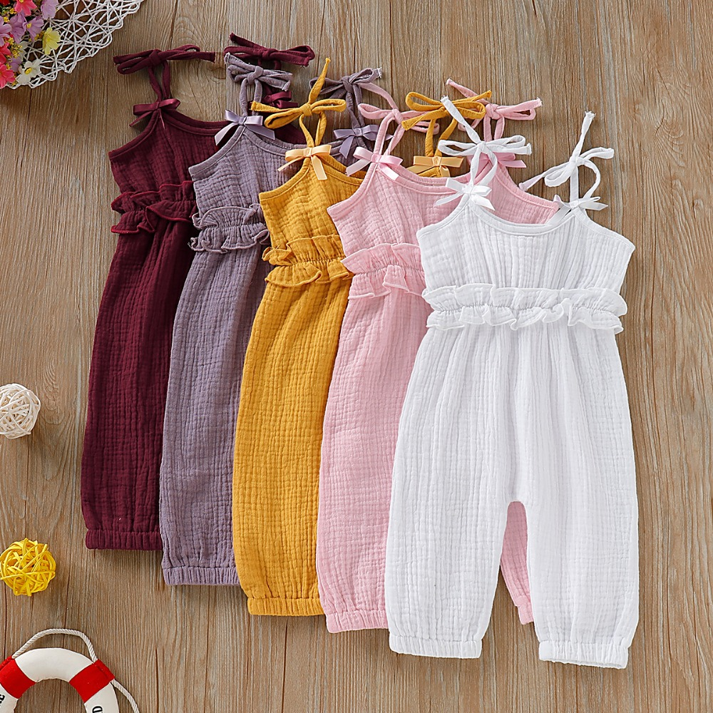 Summer Infant Baby Girls Strap   Romper   Jumpsuit 0-24M Newborn Bebes Sleeveless Sunsuits Outfits Fashion Solid Color Kids Overalls