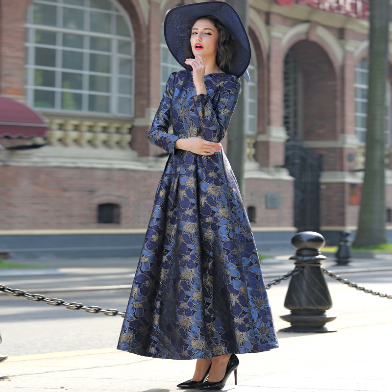 2017 S 3XL Elegant Gold Jacquard Women Maxi Dress Fall V neck Long Sleeve Muslim Lady