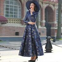 2016 Good Quality Women Fashion Dress Autumn Winter Long Maxi Floral Print Dress
