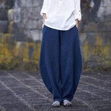 LZJN Casual Ramie Pants Women Long Trousers Elastic Waist Bottoms 5 Colors Vinta
