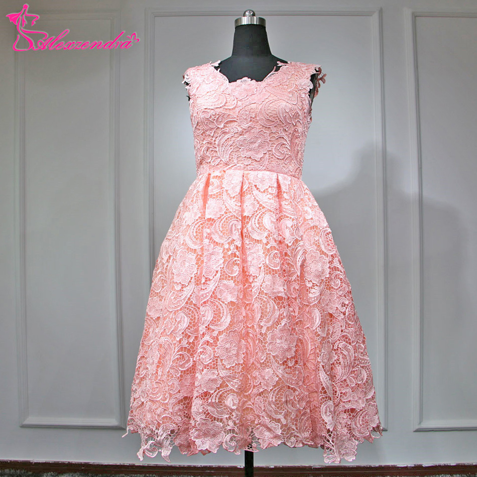 Alexzendra corto Rosa playa Vestidos de novia una línea Encaje ...