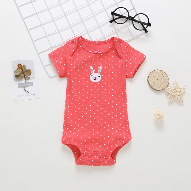 short sleeve bodysuit for baby girl clothes 2019 summer newborn boy set new born costume print body suit clothing 5pcs/lot 2