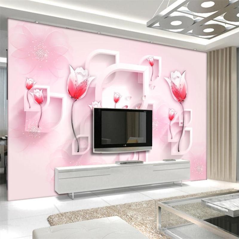 beibehang Custom 3d wallpaper modern simple red tulip ...