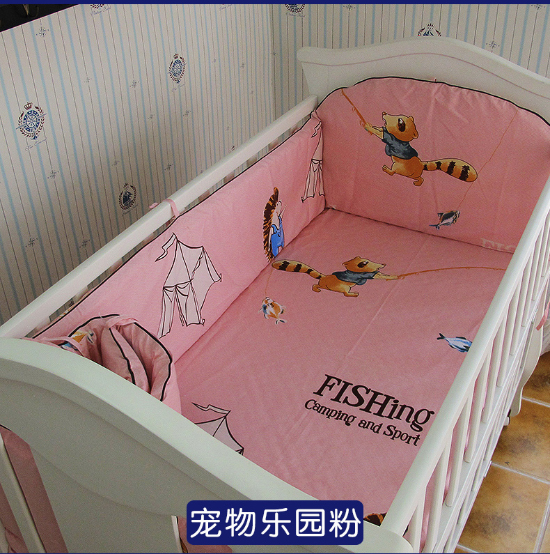 Promotion! 5PCS Pink baby bedding set baby cot crib bedding set cartoon animal world baby crib set ,include:(bumpers+sheet)