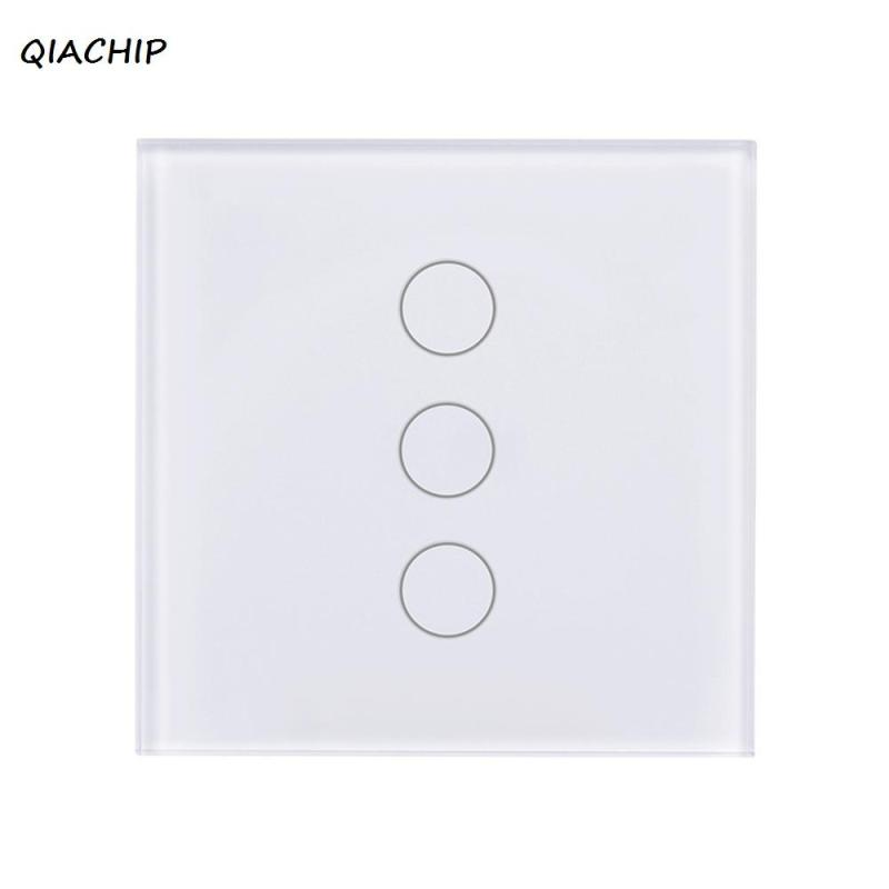 QIACHIP WiFi Smart Home Switch EU Plug App Control Work With Amazon Alexa Voice Remote Control light Switch Timing Function H4 qiachip 220v 110v wifi smart swich app wireless remote control light wall switch touch panel work with amazon alexa uk plug h4