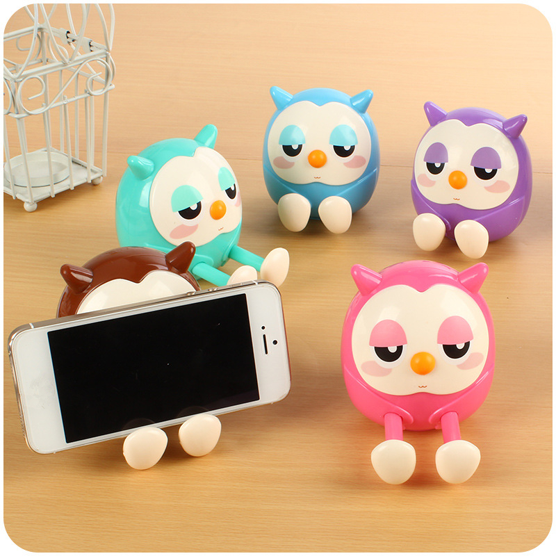 1PC Universal Plastic Cute owl Desk Phone kawaii Book Holder Lazy Stand Tablet desk Support candy color Piggy bank office supply