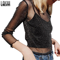 Laisiyi 2017 Women Black Blouse Shirt Tops Hollow-Out Long Sleeve Blouses Feminina Transparent Cool Blouse Blusas ASBL20035