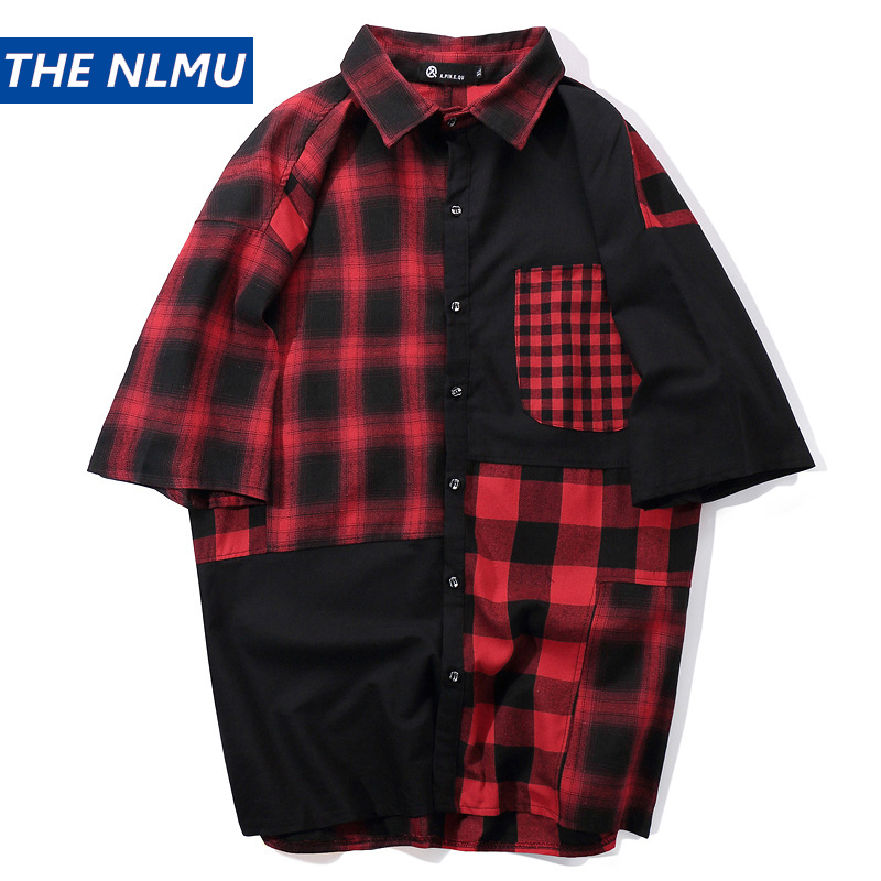 Official Website Plaid Shirts Men Hip Hop Patchwork Short Sleeve Shirt Men Summer Color Block Shirt Cotton Tops Male Streetwear Hw215 Available In Various Designs And Specifications For Your Selection Casual Shirts Men's Clothing