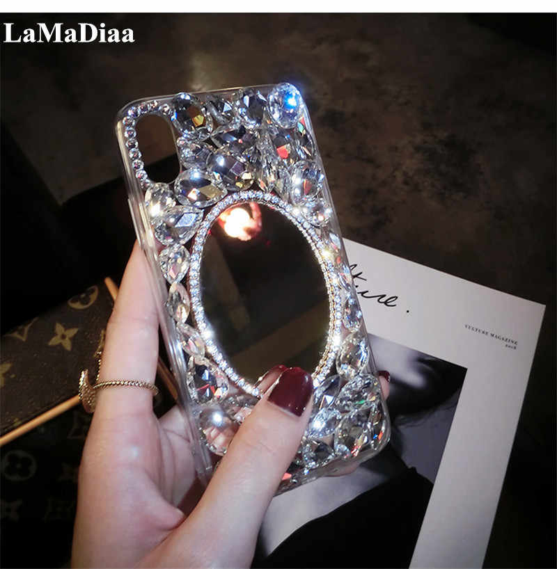 Shiny Girl Lady Handmad Case For iPhone 8 Plus X XS MAX XR Silver Crown Crystal Diamond Phone Case For iPhone 5 6 7/8Plus Cover