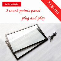 23.8 inch infrarood touch screen frame IR 2 punten touch screen voor monitor met 2mm gehard glas water proof touch frame