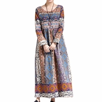 Spring Bohemian Style Floral Dress Ethnic Print Cotton Linen Long Dress Women High Waist Quality African