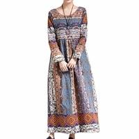 Spring Bohemian Style Floral Dress Ethnic Print Cotton Linen Long Dress Women High Waist Quality African