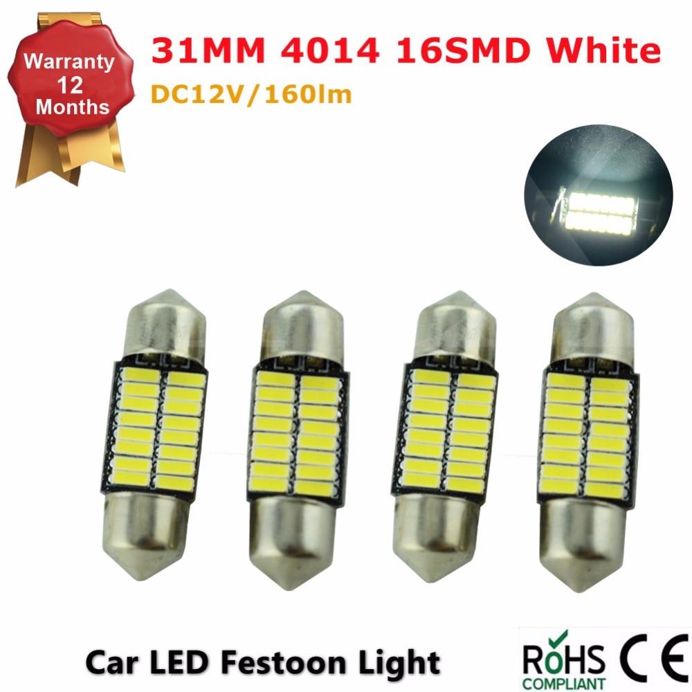 4PCS/Lot 31mm 4014 SMD <font><b>16</b></font> LED Dome <font><b>Light</b></font> Bulbs Car Dome <font><b>Light</b></font> <font><b>Cool</b></font> <font><b>White</b></font> Festoon <font><b>Light</b></font> Auto car <font><b>light</b></font> source