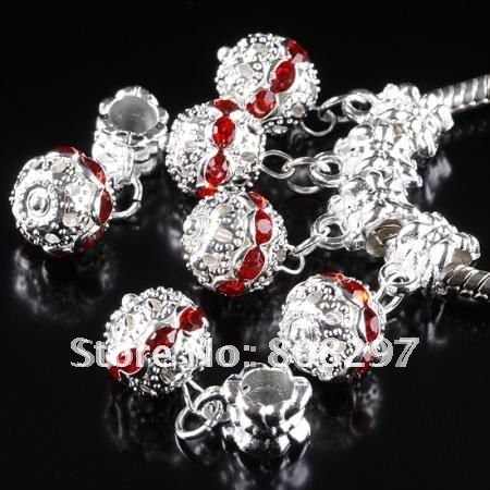 DIY 10mm Charm European Big Hole Dangle Bead Plated Silver Crystal Red Rhinestone Jewelry Finding Pendants 100pcs/lot