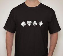 Card Player 4 suits Poker Gambling Gaming Hold em 7 card stud T shirt Print T-Shirt Men Cotton Men T-Shirts Classical