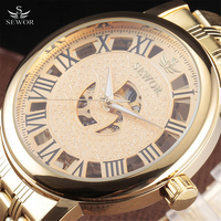 SEWOR Big Dial Design Hollow Engraving Gold Case Stainless Steel Skeleton Mechanical Watches Men Luxury Brand