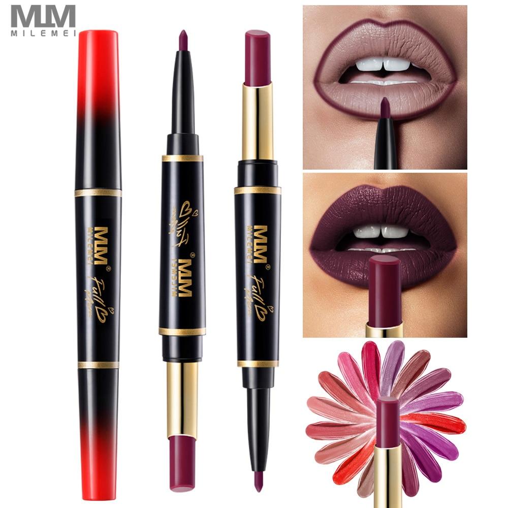 Milemei 16 Colors Double End Multifunctional Lipstick Lipliner Waterproof Profissional Moisturizer Lip Liner Pencil Batom Matte