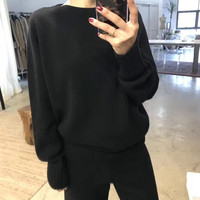Tracksuits 2018 Winter Rushed Full New Cashmere Suit Women's Knit Wide leg Pants Thick Round Neck Sweater Two piece Warm Women