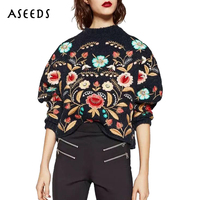 Casual oversized knitted embroidered sweater women sweaters and pullovers autumn 2019 fashion long sleeeve tops pull clothes