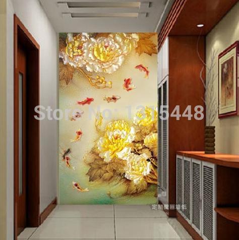 Peindre Papier Peint Relief Peinture Murale Papier Peint Fleur