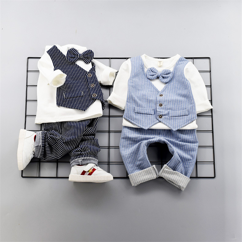 Toddler Kids Clothing Set Baby Boys Gentlemen Bowknot Fake Two Shirt + Striped Pants Outfit Fashion Wedding Party 2pcs Clothes