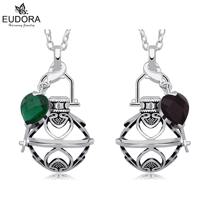Eudora Harmony Ball Floating Fashion Glass Crystal Pendant Jewelry Baby Angel Caller Locket Cage Pendants Necklace Pregnant Gift