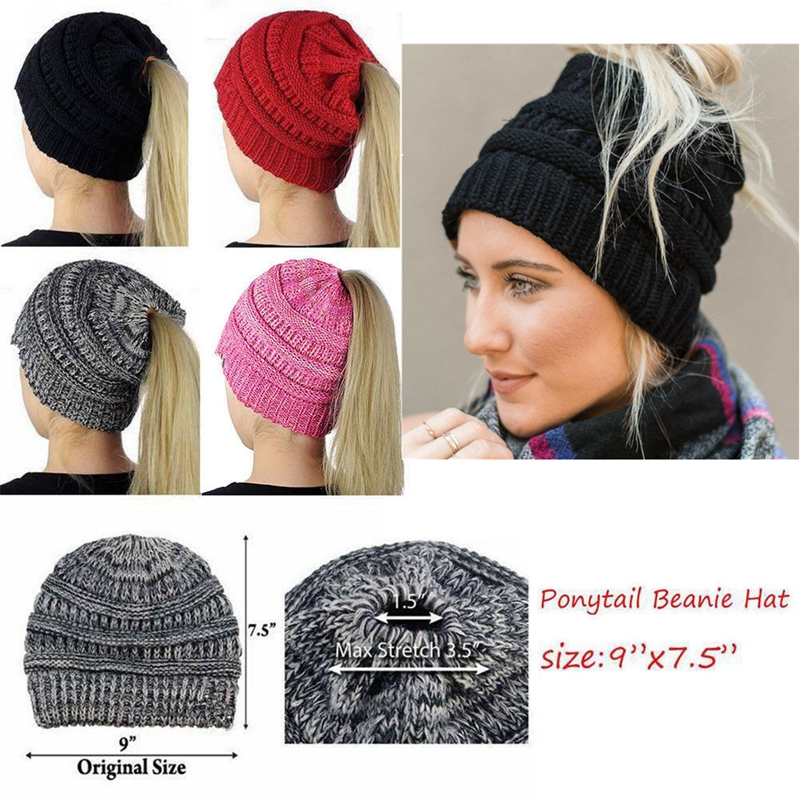 Girls Womens Stretch Knit Hat Messy Bun Ponytail Beanie Holey Winter Warm Hats