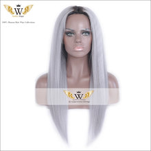 7A Ombre Gray Human Hair Light Yaki Full Lace WIgs With Baby Hair Glueless Yaki Lace Front Wig Gray Color Straight Virgin Hair