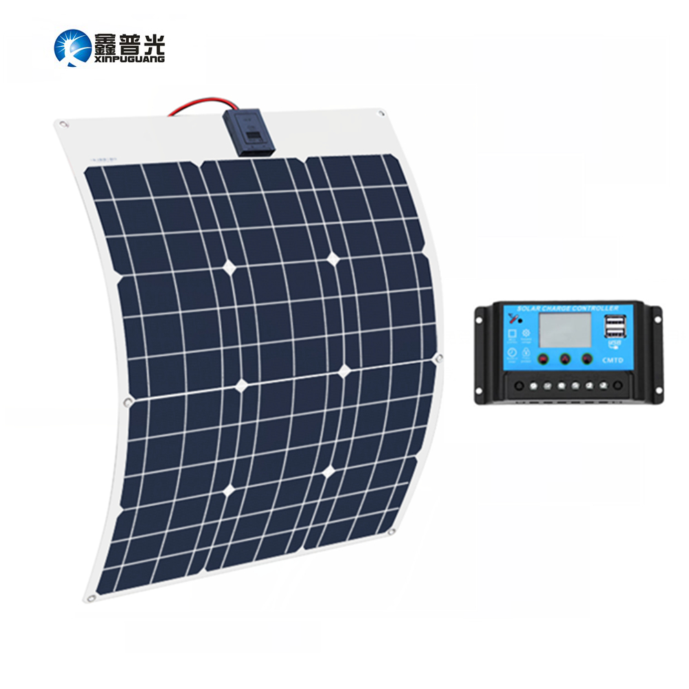 Xinpuguang 50W 18V Solar Battery Flexible Solar Panel 12V 24v Controller 10A Solar System Kits for
