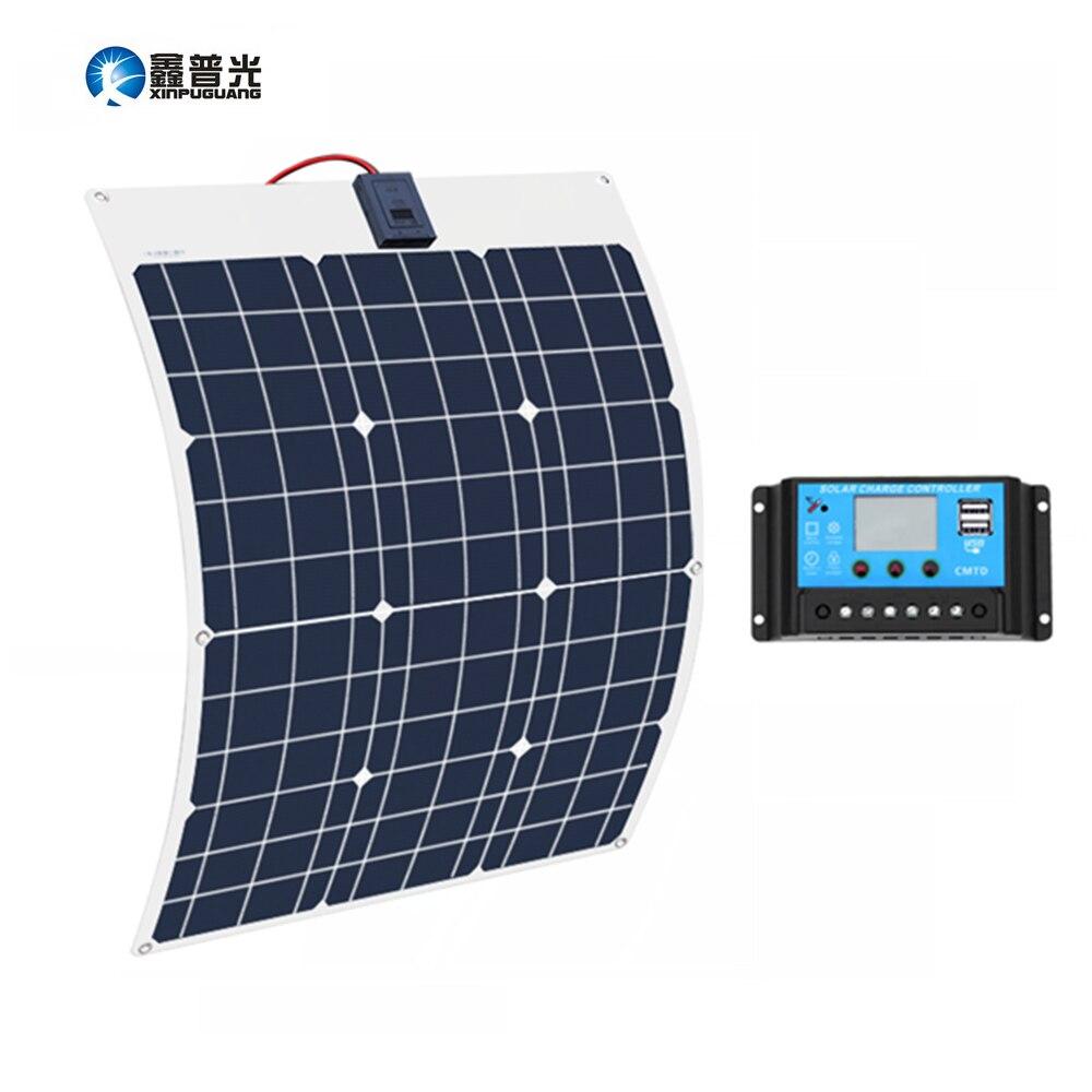 Xinpuguang 50 Вт 18 в солнечная батарея Гибкая солнечная панель 12 В 24 в контроллер + 10A солнечная система комплекты для рыбалки лодка кабина кемпинг