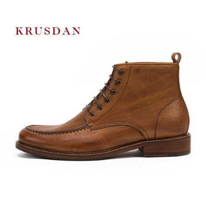 KRUSDAN Fashion Winter Short Martin Men Brown Genuine Leather Ankle Boots High Top Lace Up Shoes Men Retro Military Cowboy Boots gaiety women brand watches luxury rose gold leather quartz ladies wristwatches fashion sport women casual dress watch clock g447