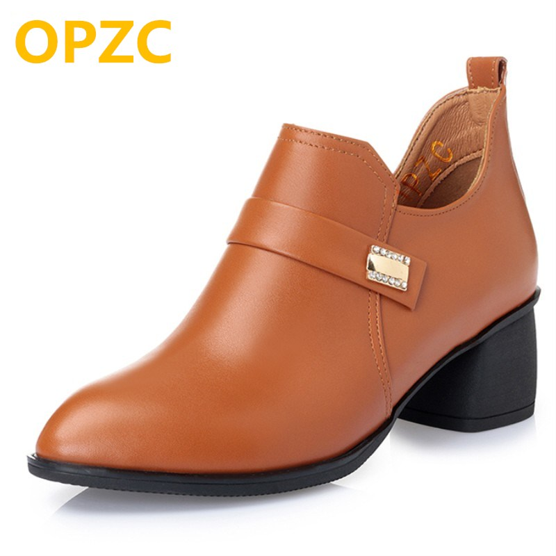 OPZC 2018 New Genuine leather women shoes .Women Dress Pumps Fashion. Square Heels Shoes Woman Sexy Shoelaces Pointed Toe Boots facndinll women pumps fashion middle heels pointed toe shoes woman square toe shoes ladies offcie dress casual date woman pumps