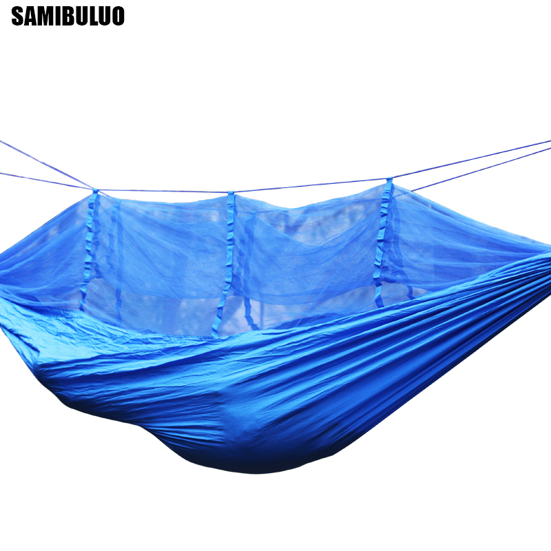 Image 2 - Outdoor Mosquito Net Parachute Hammock 1 2 Person Camping Hanging Sleeping Bed Swing-in Hammocks from Furniture