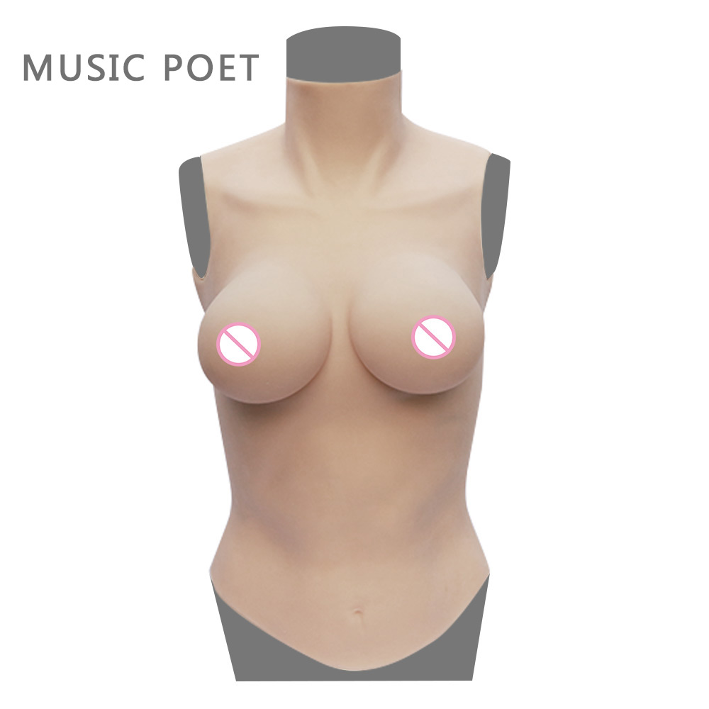 NEW D cup half body breast forms for crossdresser Artificial Boobs Enhancer shemale Trandsgender tit Realistic