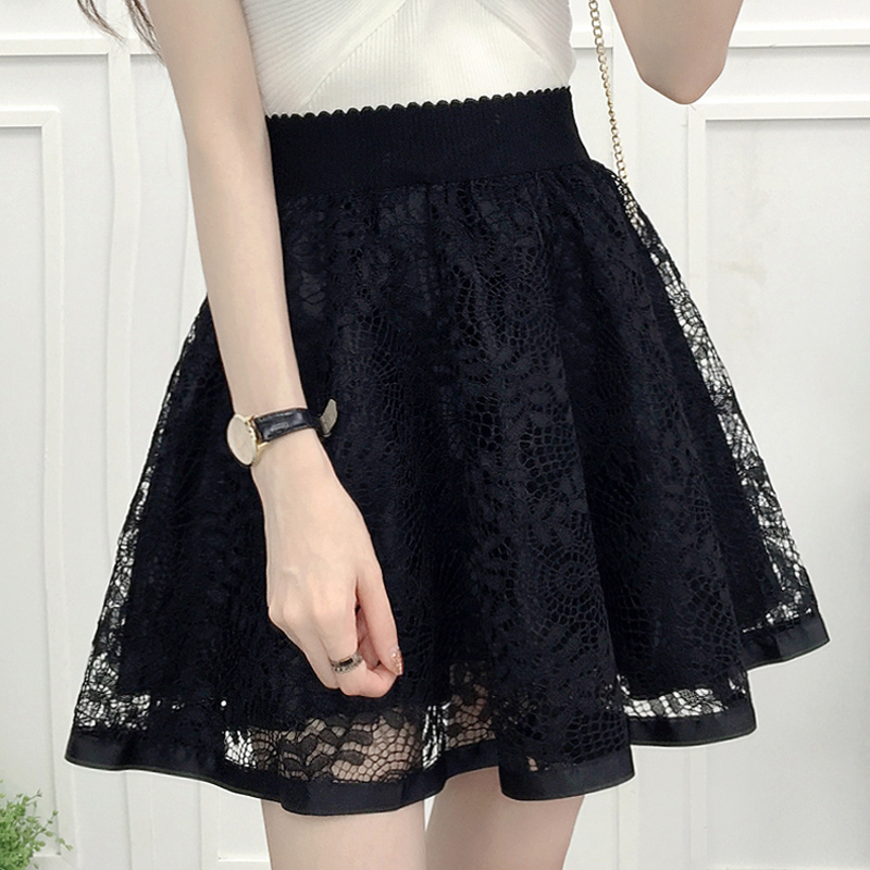 new fashion women girls Preppy Style lace high waist summer spring gauze black A-Line pleated Above Knee Beading skirt clothing