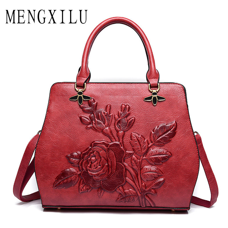MENGXILU Chinese Style Casual Tote Bags Handbags Women Famous Brand Designer High Quality pu Leather Flower Women Bag Ladies Sac mengxilu brand tote luxury handbags women bags designer handbags high quality pu leather bags women crossbody bag ladies new sac