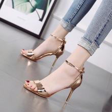 Gold and silver Fine belt Buckle summer new small fresh high-heeled shoes with thin and sexy toes  Women sandals стоимость