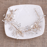 Exquisite Gold Flower Leaf Crystal Pearls Wedding Hair Vine Headband Bridal Headpiece Hair Accessories