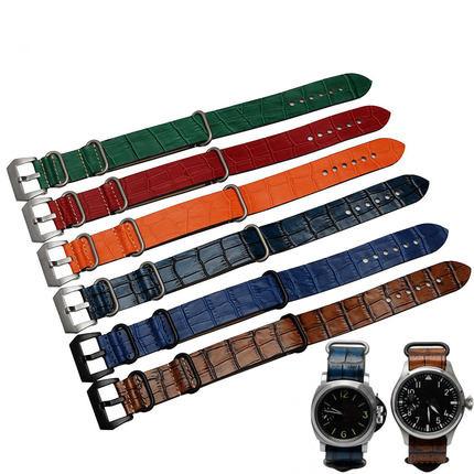 22 24mm Marrón Oscuro Azul Naranja Rojo Verde Reloj de Pulsera de LA VENDIMIA de Cuero Correa de La banda Pin de Plata Cepillado Hebilla de Tornillo Anillo Zulu Nato