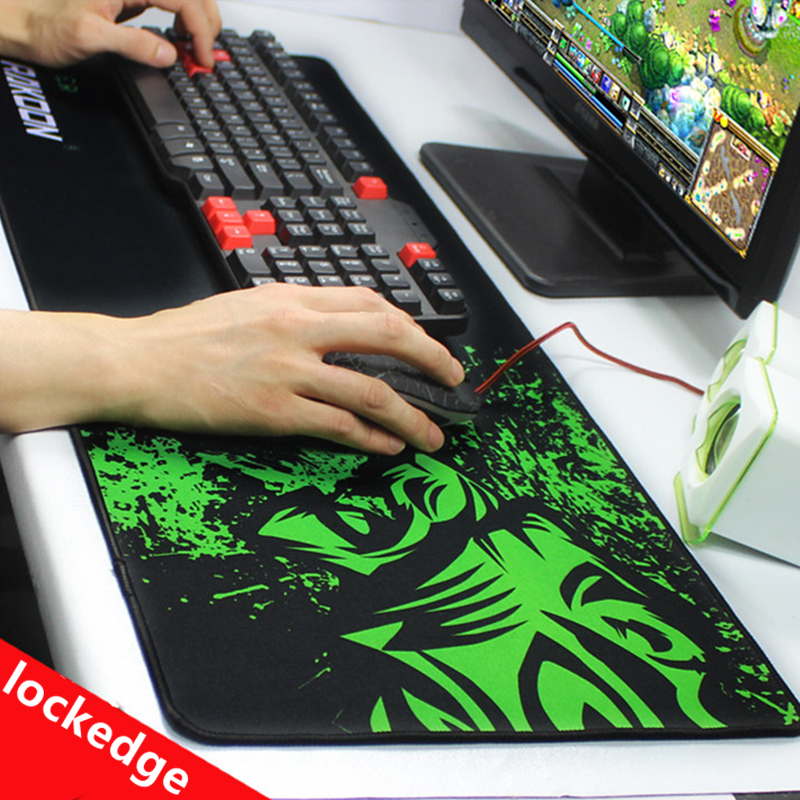 Green Print Large Gaming Mouse Pad Anti-slip Natural Rubber Mouse Mat Keyboard Pad Desk Mat For Laptop Computer Gamer Mousepad(China)