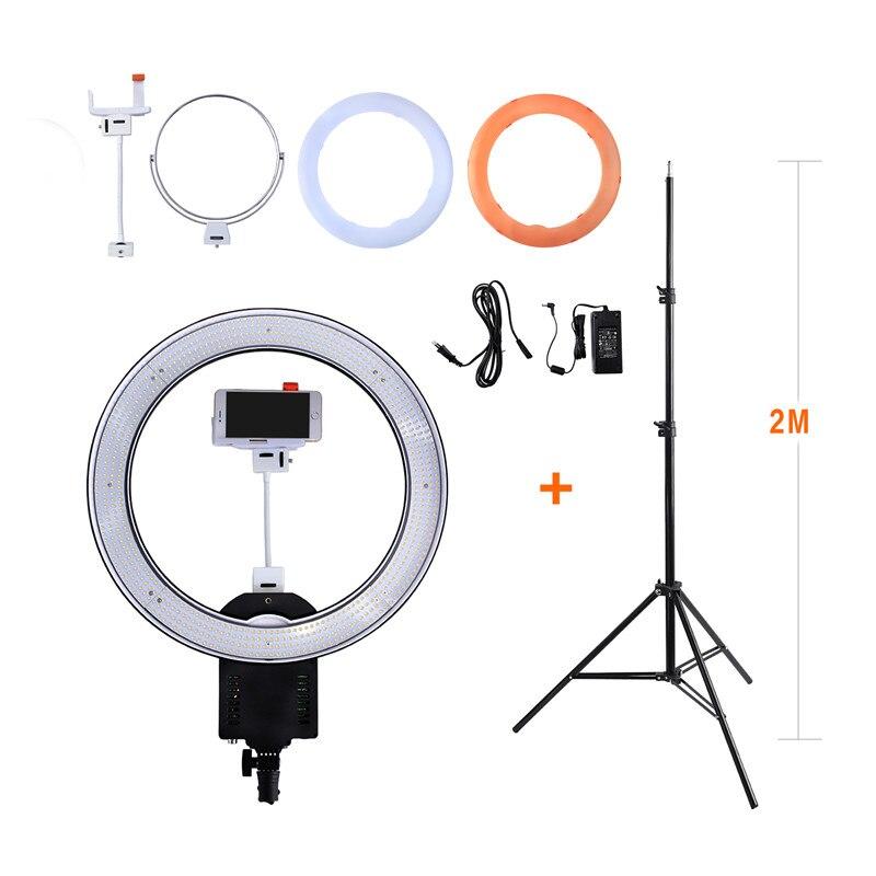 bilder für Nanguang CN-R640 Fotografie Kamera Foto/Video 640 LED Macro 5600 Karat Dimmbare Ring Licht Mit 2 Mt stativ für Telefon/Kamera