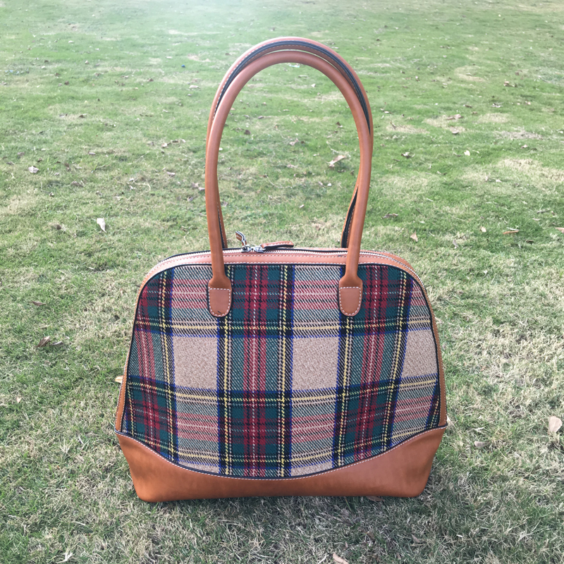 Wholesale Blanks DOMIL Plaid Canvas Tote Bag PU Vegan Leather Handle Women Handbag Patchwork Sanded font