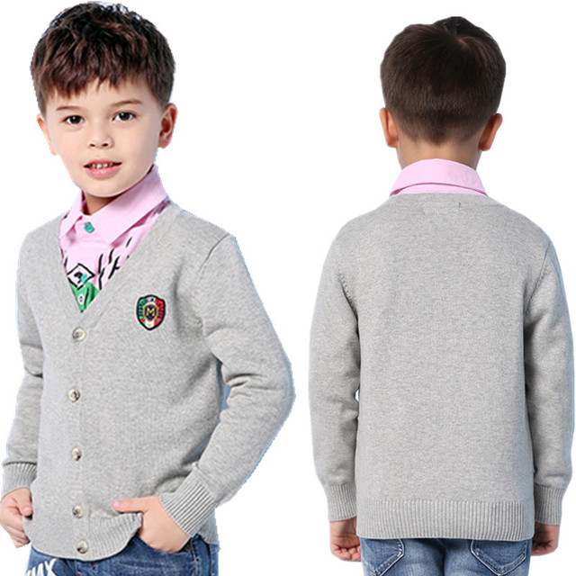 df899b96b Spring Kids Boys Sweaters Cardigan V Neck Long Sleeve Children Knitwear  Coat Autumn Outwear Children's Jackets Button Up Clothes-in Sweaters from  Mother ...