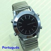 שעון מדבר פורטוגזית לאנשים עיוורים או לקויים ראייה עם אזעקה Falar Portugues קוורץ שעונים מניות Flex להקה