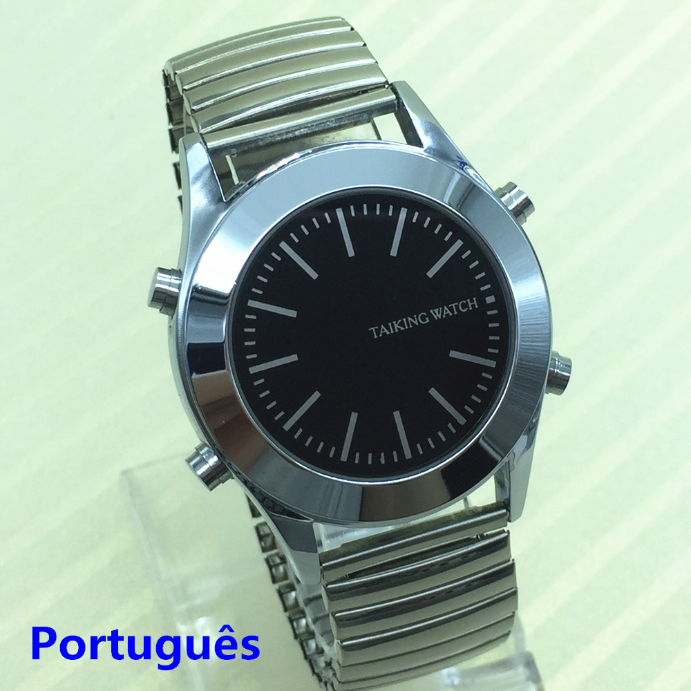Portuguese Talking Watch For Blind People Or Visually Impaired With Alarm Falar Portugues Quartz Watch In Stock Flex Band