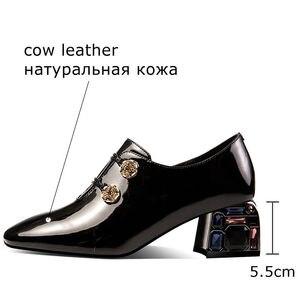 Image 3 - ALLBITEFO zapatos de tacón alto de piel auténtica para mujer, con diamantes de imitación, zapatos de tacón alto, talla 34 42
